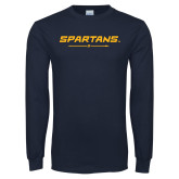 Navy Long Sleeve T Shirt-Spartans w/ G Spear