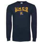 Navy Long Sleeve T Shirt-Arch Distressed