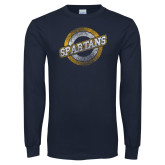 Navy Long Sleeve T Shirt-Spartans Circle