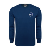 Navy Long Sleeve T Shirt-UNCG Shield