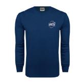 Navy Long Sleeve T Shirt-UNCG Shield