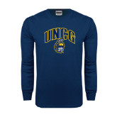 Navy Long Sleeve T Shirt-Arched UNCG w/Spartan