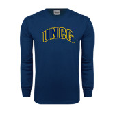 Navy Long Sleeve T Shirt-Arched UNCG