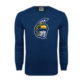 Navy Long Sleeve T Shirt-Spartan Head
