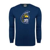 Navy Long Sleeve T Shirt-Spartan Head