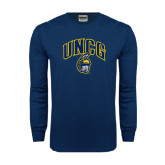 Navy Long Sleeve T Shirt-Arched UNCG w/Spartan Distressed
