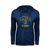 ENZA Ladies Navy Fleece Full Zip Hoodie-Alumni