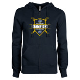 ENZA Ladies Navy Fleece Full Zip Hoodie-2018 Baseball Regular Season Champions