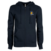 ENZA Ladies Navy Fleece Full Zip Hoodie-Spartan Logo