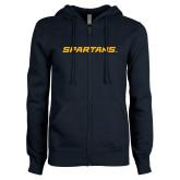 ENZA Ladies Navy Fleece Full Zip Hoodie-Spartans Wordmark