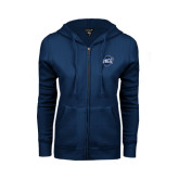 ENZA Ladies Navy Fleece Full Zip Hoodie-UNCG Shield