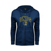 ENZA Ladies Navy Fleece Full Zip Hoodie-Arched UNCG w/Spartan