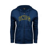 ENZA Ladies Navy Fleece Full Zip Hoodie-Arched UNCG