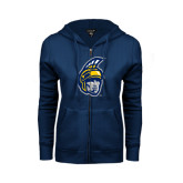 ENZA Ladies Navy Fleece Full Zip Hoodie-Spartan Head