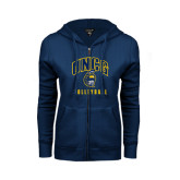 ENZA Ladies Navy Fleece Full Zip Hoodie-Volleyball