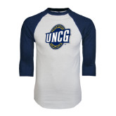 White/Navy Raglan Baseball T-Shirt-UNCG Shield