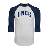 White/Navy Raglan Baseball T-Shirt-Arched UNCG