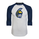 White/Navy Raglan Baseball T-Shirt-Spartan Head
