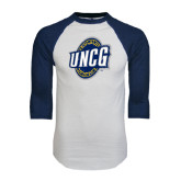 White/Navy Raglan Baseball T-Shirt-UNCG Shield Distressed
