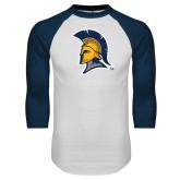 White/Navy Raglan Baseball T Shirt-Spartan Logo