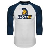 White/Navy Raglan Baseball T Shirt-Lock Up