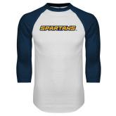 White/Navy Raglan Baseball T Shirt-Spartans Wordmark