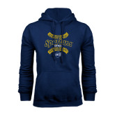 Navy Fleece Hoodie-Softball Ball Design