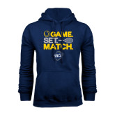 Navy Fleece Hood-Game Set Match - Tennis Design