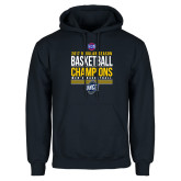 Navy Fleece Hoodie-2017 SoCon Regular Season Basketball Champions - Stacked