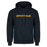 Navy Fleece Hoodie-Spartans Wordmark