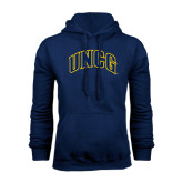 Navy Fleece Hoodie-Arched UNCG