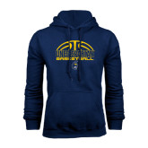 Navy Fleece Hoodie-Arched Basketball Design