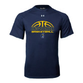Under Armour Navy Tech Tee-Arched Basketball Design