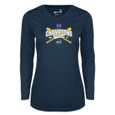 Ladies Syntrel Performance Navy Longsleeve Shirt-Baseball SoCon Champions 2017 - Crossed Sticks