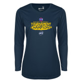 Ladies Syntrel Performance Navy Longsleeve Shirt-2018 Mens Basketball Champions - Brush