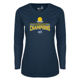 Ladies Syntrel Performance Navy Longsleeve Shirt-2018 Mens Basketball Champions - Net w/ Basketball