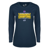 Ladies Syntrel Performance Navy Longsleeve Shirt-2018 Mens Basketball Champions - Stacked
