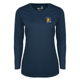 Ladies Syntrel Performance Navy Longsleeve Shirt-Spartan Logo