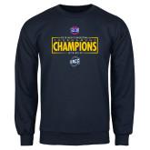 Navy Fleece Crew-2018 Mens Basketball Champions - Box