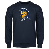 Navy Fleece Crew-Spartan Logo