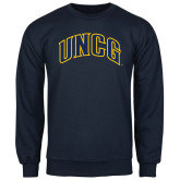 Navy Fleece Crew-Arched UNCG