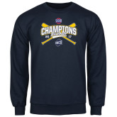 Navy Fleece Crew-Baseball SoCon Champions 2017 - Crossed Sticks