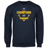 Navy Fleece Crew-Baseball SoCon Champions 2017 - Diamond