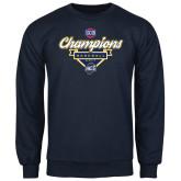 Navy Fleece Crew-Baseball SoCon Champions 2017 - Banner w/ Plate