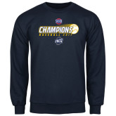 Navy Fleece Crew-Baseball SoCon Champions 2017 - Ball in Motion
