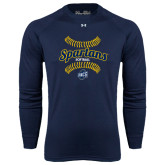 Under Armour Navy Long Sleeve Tech Tee-Softball Ball Design