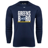 Under Armour Navy Long Sleeve Tech Tee-Greensboro Stacked with Shield