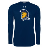 Under Armour Navy Long Sleeve Tech Tee-Spartan Logo