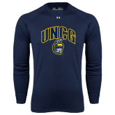 Under Armour Navy Long Sleeve Tech Tee-Arched UNCG w/Spartan