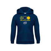 Youth Navy Fleece Hoodie-Peace, Love and Volleyball Design
